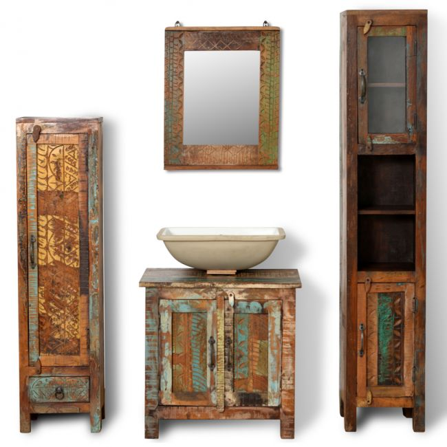 Badmöbel Waschbeckenunterschrank mit Spiegel Seitenschränke