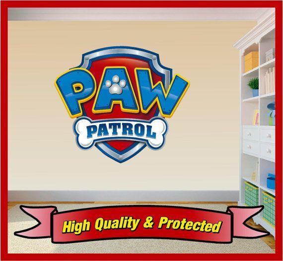 Paw Patrol Shield Badge Wall Art Sticker Decal Childrens