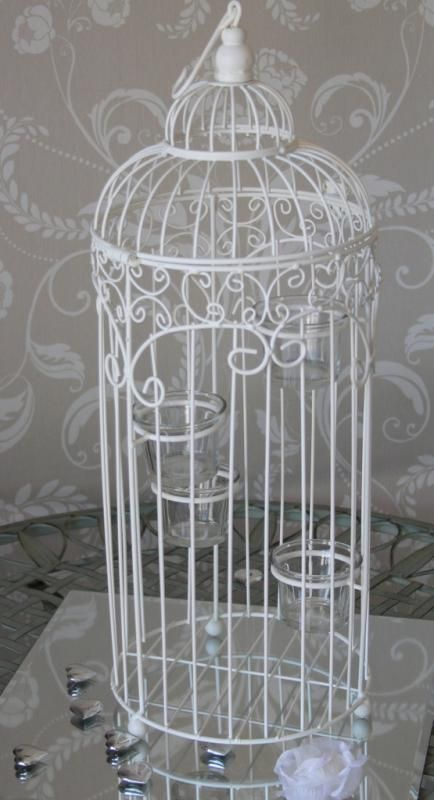 Large cream birdcage with tealight holders