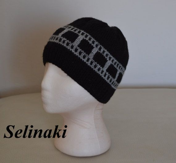 Knit Filmstrip Hat Film Roll Beanie  Handmade by me with 100% acrylic yarns.  For the matching scarf and other filmstrip products please visit : https://www.etsy.com/shop/bySelinaki?ref=l2-shopheader-name&section_id=19170769  Ready to ship.  Thanks for looking and please contact me for any questions.