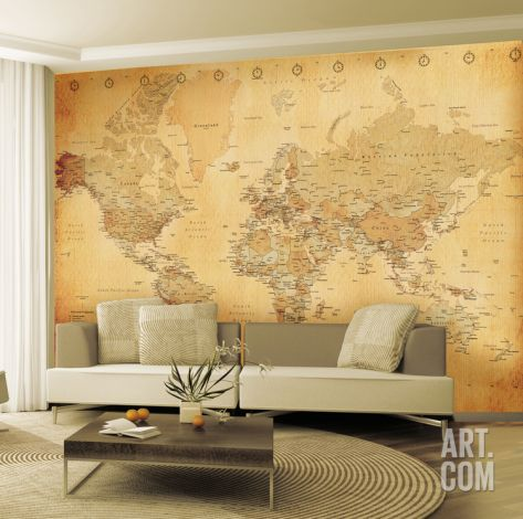 Make over an entire room instantly with a wallpaper mural. This vintage-inspired map is perfect for travel lovers. Save 35% sitewide on Art.com today! Use code PINART35 from 12/16/14 to 12/31/14.