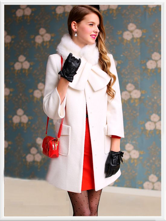 Morpheus Boutique  - White Bow Wool Long Sleeve Ruffle Coat, CA$194.85 (http://www.morpheusboutique.com/white-bow-wool-long-sleeve-ruffle-coat/)
