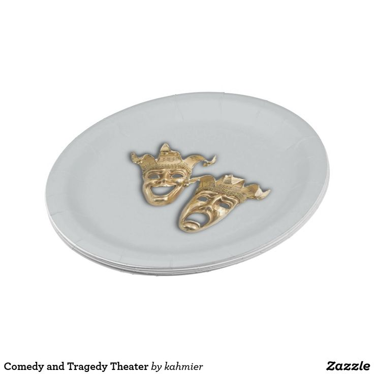 Comedy and Tragedy Theater Paper Plate #thespian #actor  #shopping #leatherwooddesign