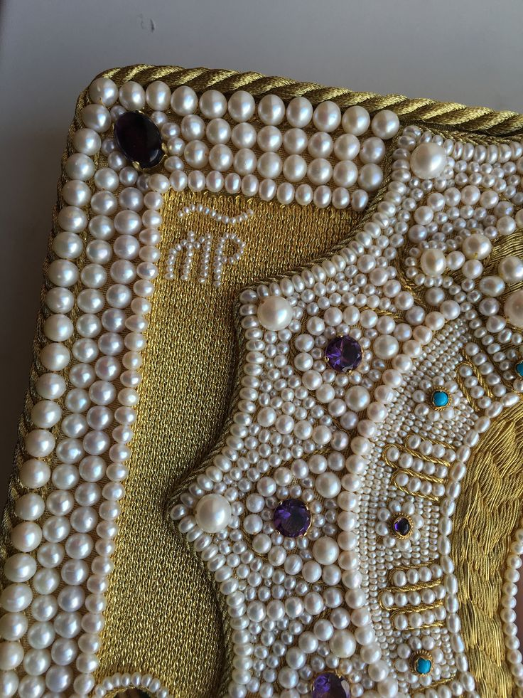 Icon frame. Detail. Goldwork, pearls, amethysts, turquoise. Embroidery made by Larissa Borodich