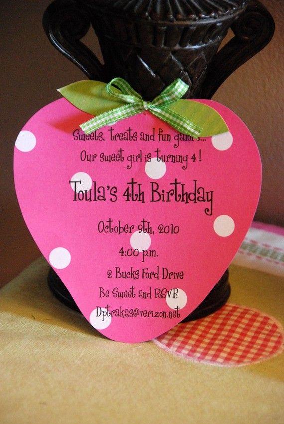 Strawberry Shortcake Birthday Invitation by palmbeachpolkadots, $2.25