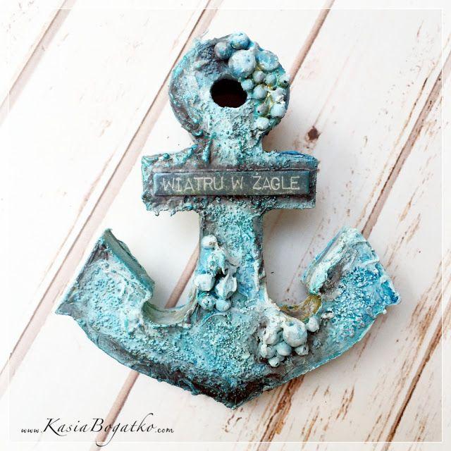 Kotwica / wooden anchor - mixed media project with ColourArte Silks Acrylic Glaze