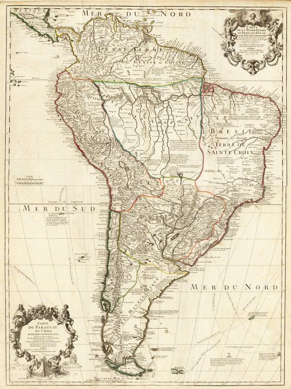 Old Map South America Brasil Venezuela Peru Argentina Chile 1708.