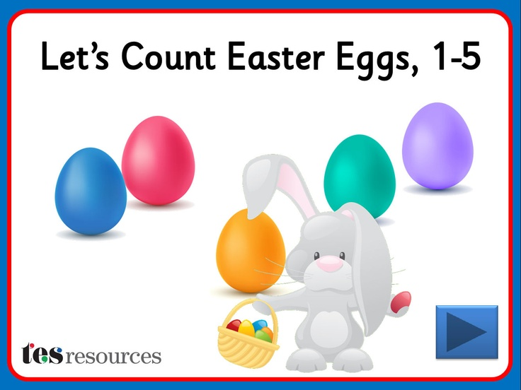 Interactive counting screens to count amounts between 1 and 5. Choose from different coloured eggs and count them as they appear one-by-one on the screen. You can then click each object to see the digits as you count.
