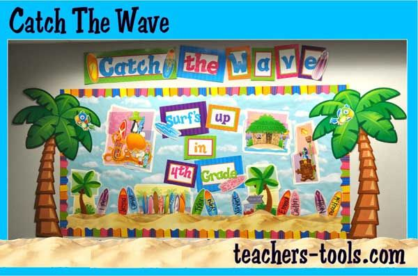 Catch The Wave with this Surfing Bulletin Board! Complete with palm trees, surfboards and sand, it's perfect for your class!