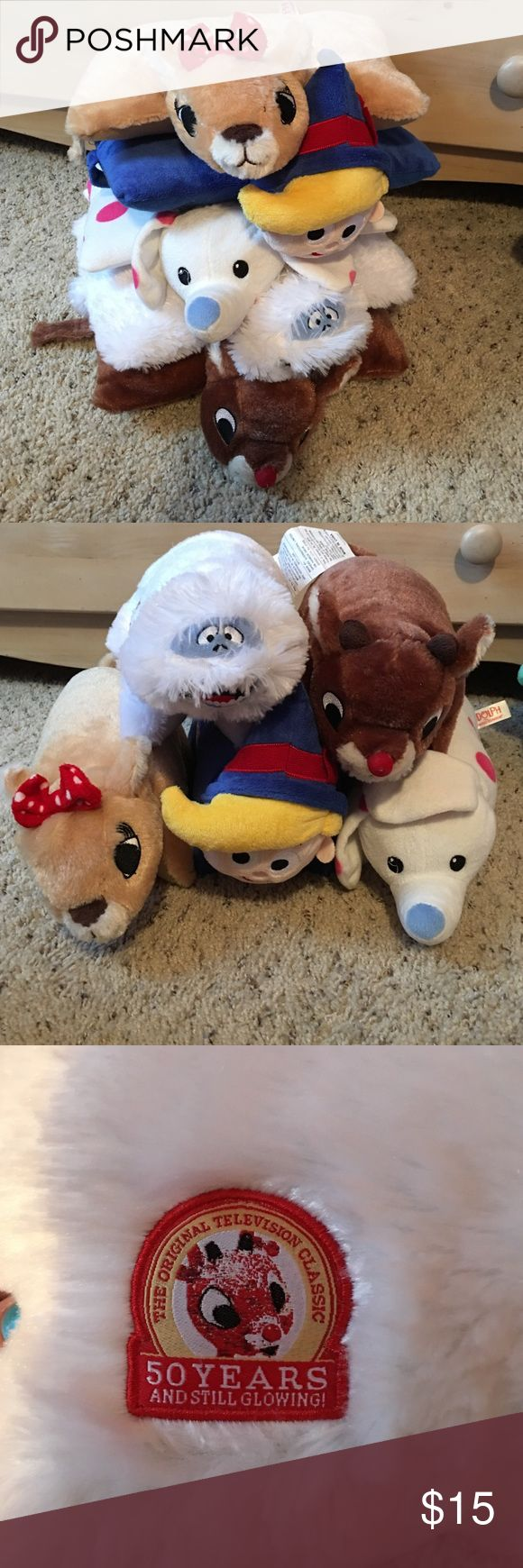 5 Rudolph movie pillow pets. Small size pillows. From the Rudolph movie. Includes Rudolph, Clarice, Hermine, Bumble and the elephant. Other