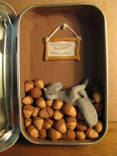 Altoids Squirrel tree house http://www.mydiychat.com/tutorials/polymer-clay-project-squirrel-hollow