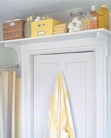 The wasted space above the doorway can quickly be turned into valuable storage space by simply installing a shelf. #storage #DIY