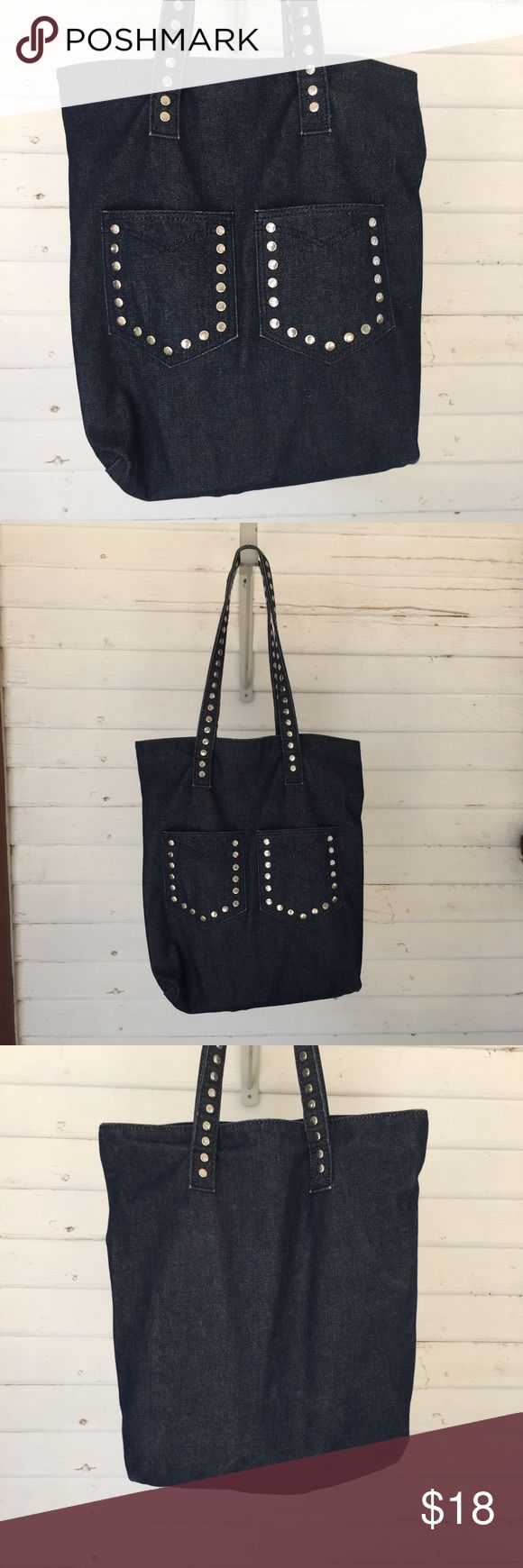 """Studded Jean Tote. 16""""X14"""" Studded Jeans Tote. 16"""" Long 14"""" Wide Straps 10"""". Two pockets inside and out. Good condition. All orders are shipped same or next business day. Bundle to save even more money! Bags Totes"""