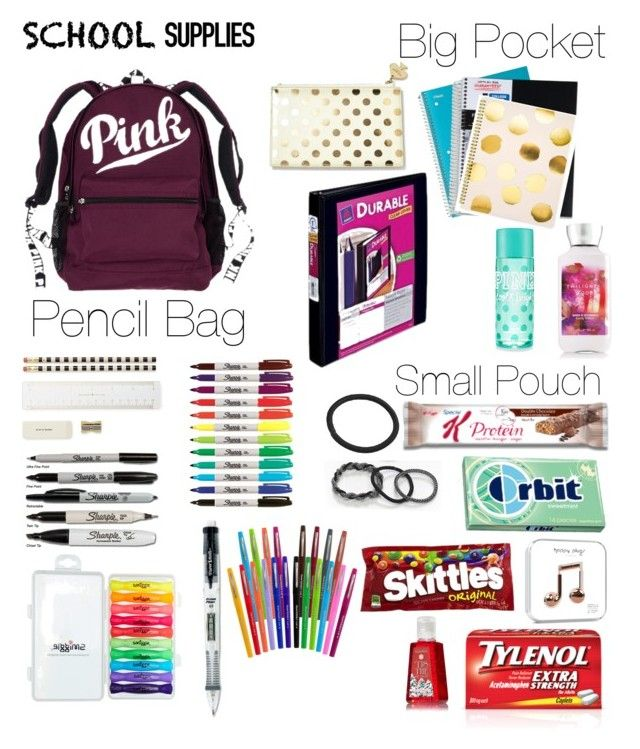 What's in my backpack? by jazmynne-dickerson on Polyvore featuring polyvore, moda, style, scunci, Kate Spade, Sugar Paper, Paper Mate, fashion and clothing