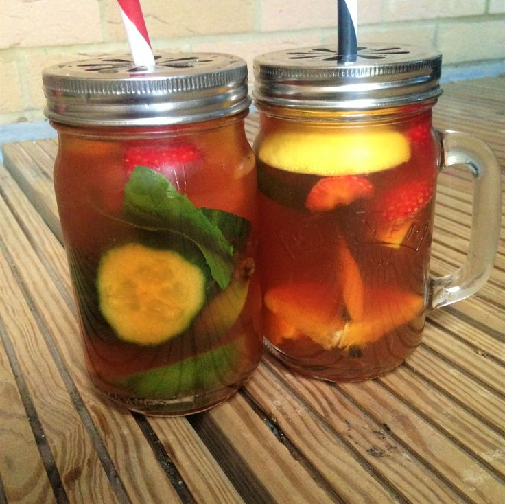 Pimms Iced Tea. Made with Blend No.67 by Tea Leaf London. A black tea with strawberries and peppercorns.