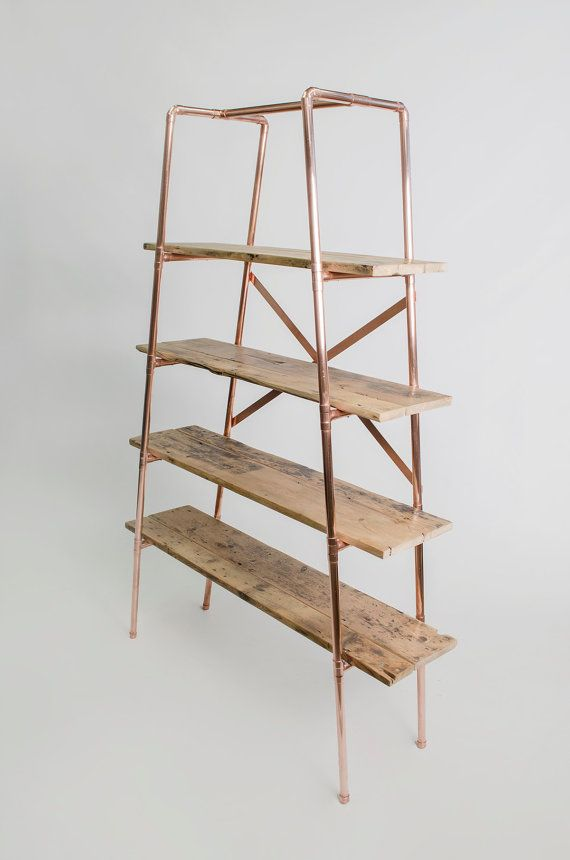 copper and rustic wood shelves. could distress the copper a bit, too.