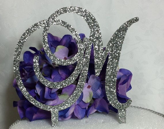 5 Tall Silver or Gold Glitter Acrylic Cake Topper by SpectacularEvents