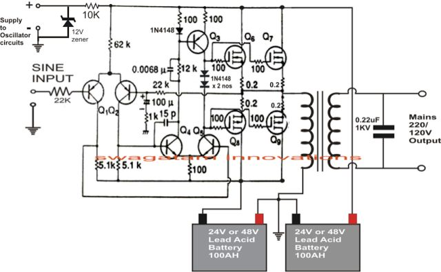 wiring diagram ups circuit 1kva (1000 watts) pure sine wave inverter circuit ... 3 phase wiring diagram symbols circuit #4