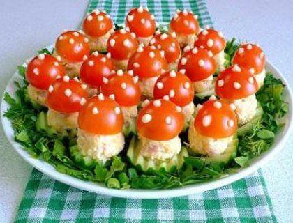 Закуска «Мухоморы» к праздничному столу