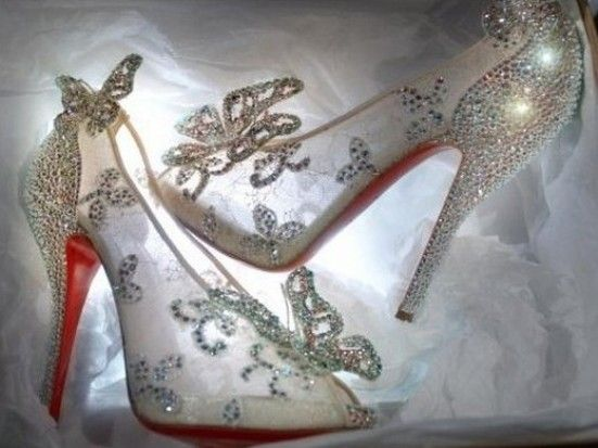 Attractive Beautiful Cinderella Glass Slipper Shoes For Wedding With Rhinestones