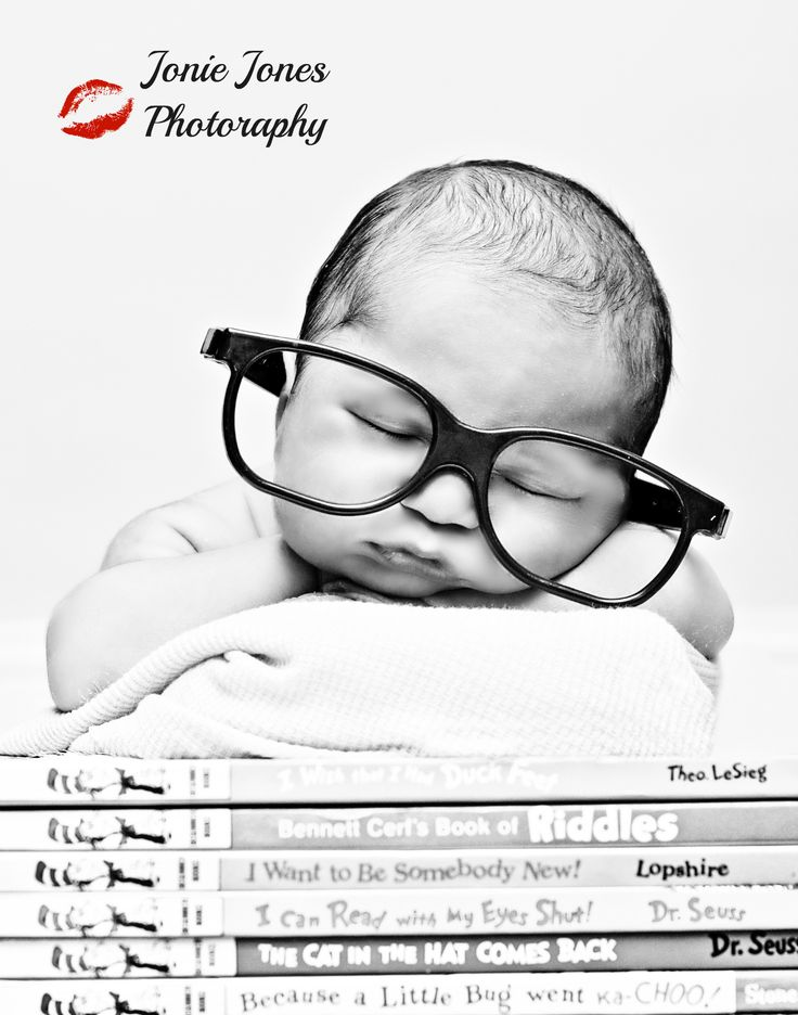 Newborn Photography add some reading glasses to baby fun and easy.