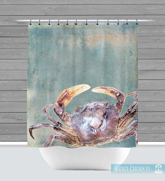 Blue Crab Shower Curtain: Nautical Beach House Water Inspired | Made in the USA | 12 Hole Fabric Bathroom Decor