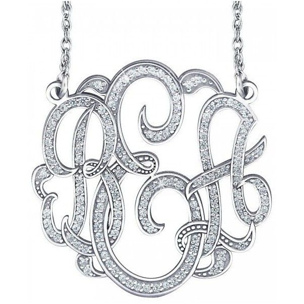 Alison & Ivy - 3 Initial Diamond Classic Monogram Necklace -... ($3,285) ❤ liked on Polyvore featuring jewelry, necklaces, diamond necklace, diamond star necklace, letter necklace, monogram initial necklace and letter jewelry