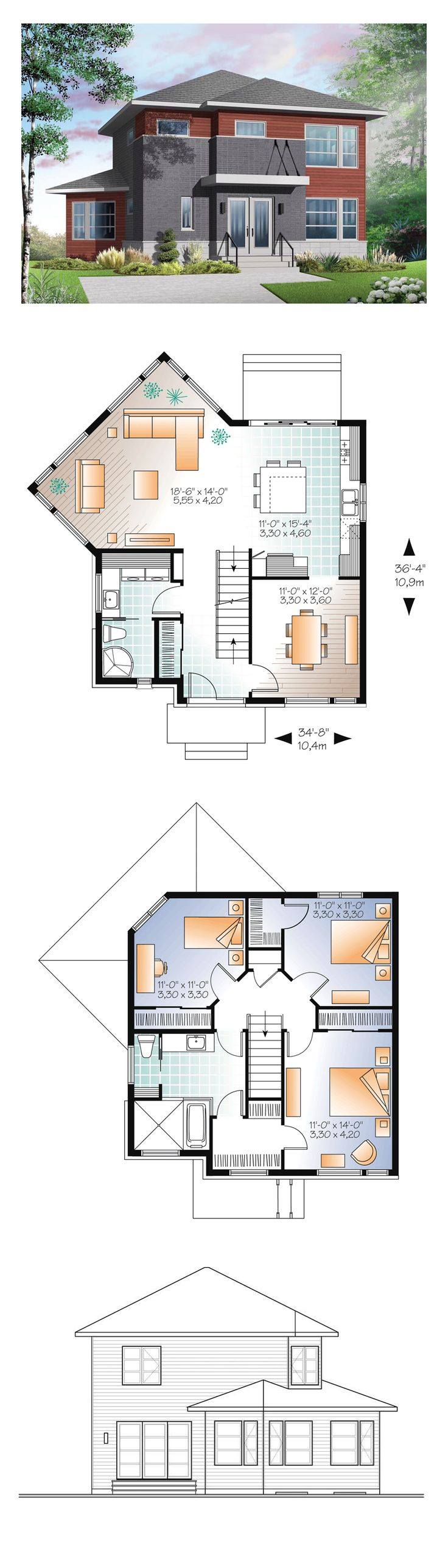 Modern House Plan 76369   Total Living Area: 1688 sq. ft., 3 bedrooms and 2 bathrooms. #modernhome