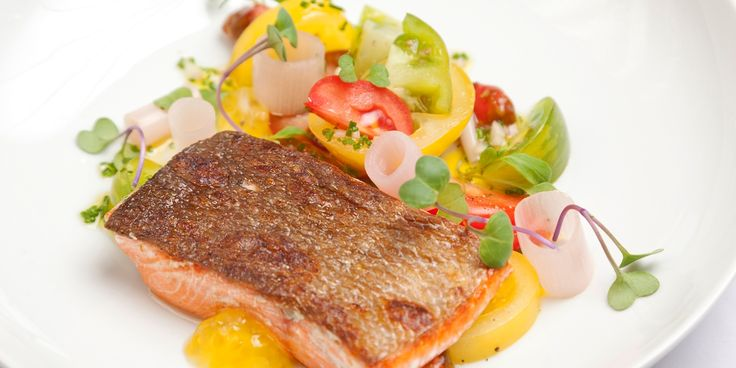 A colourful Alaska salmon dish from Dave Watts pairs the fish with in-season tomatoes
