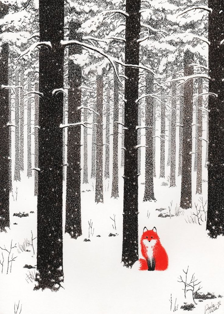 Talvikettu ~ by *Uuju.  Dip pen & ink, & crayons #forest #fox #art