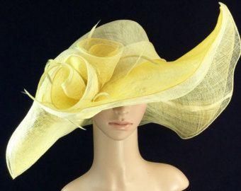Womens Kentucky Derby Hat, Yellow Hat, Wide Brim Hat, Tea Party Hat
