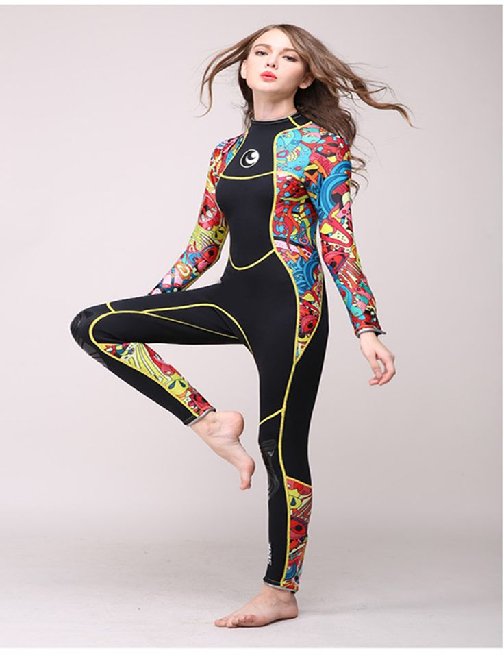 High-end,3mm women neoprene wetsuit,color stitching,Jellyfish clothing,Surf Diving Equipment,long-sleeved piece fitted