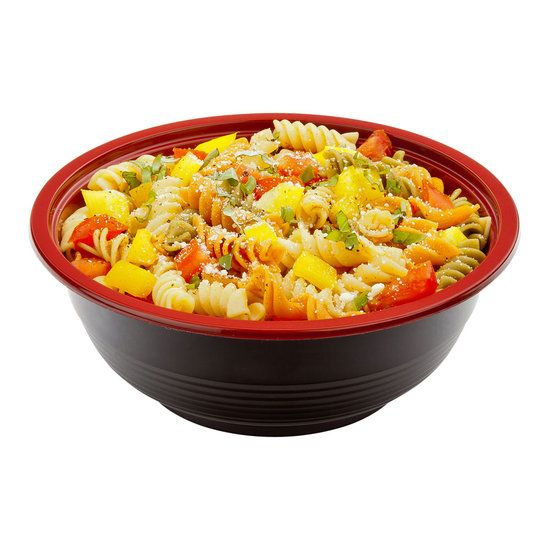 Large Microwavable PP Asian Panda Bowl Black and Red with Lid 34 ounce 200 count box