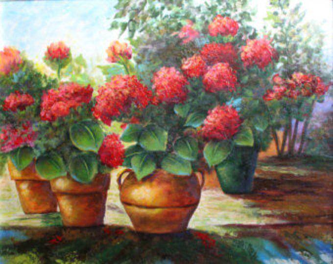 Geranios rojos, una pintura floral acrílico original