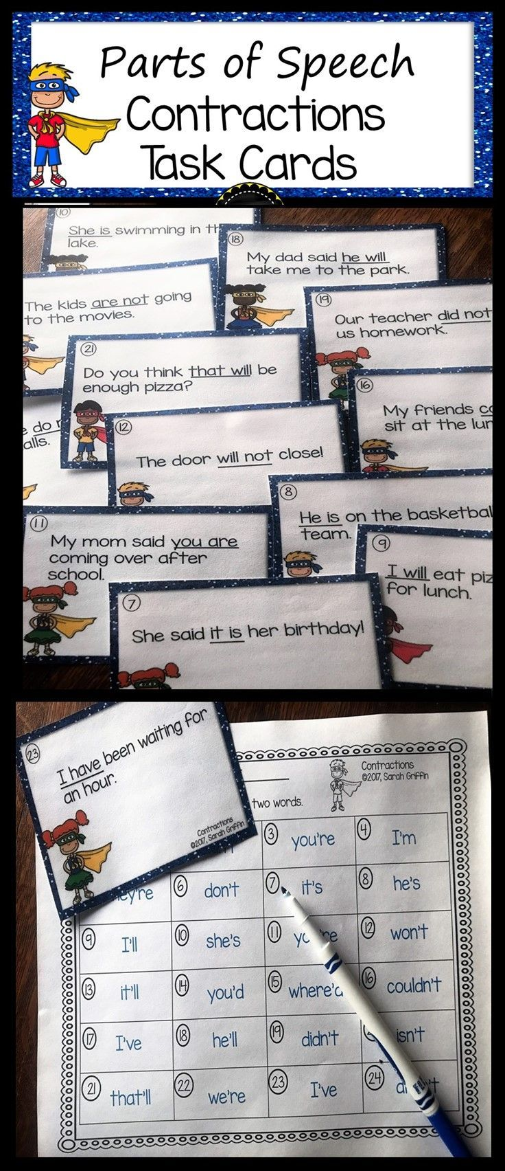 Contraction Task Cards | Scoot Game | Apostrophes | Write the Room | Parts of Speech | first grade | second grade | third grade