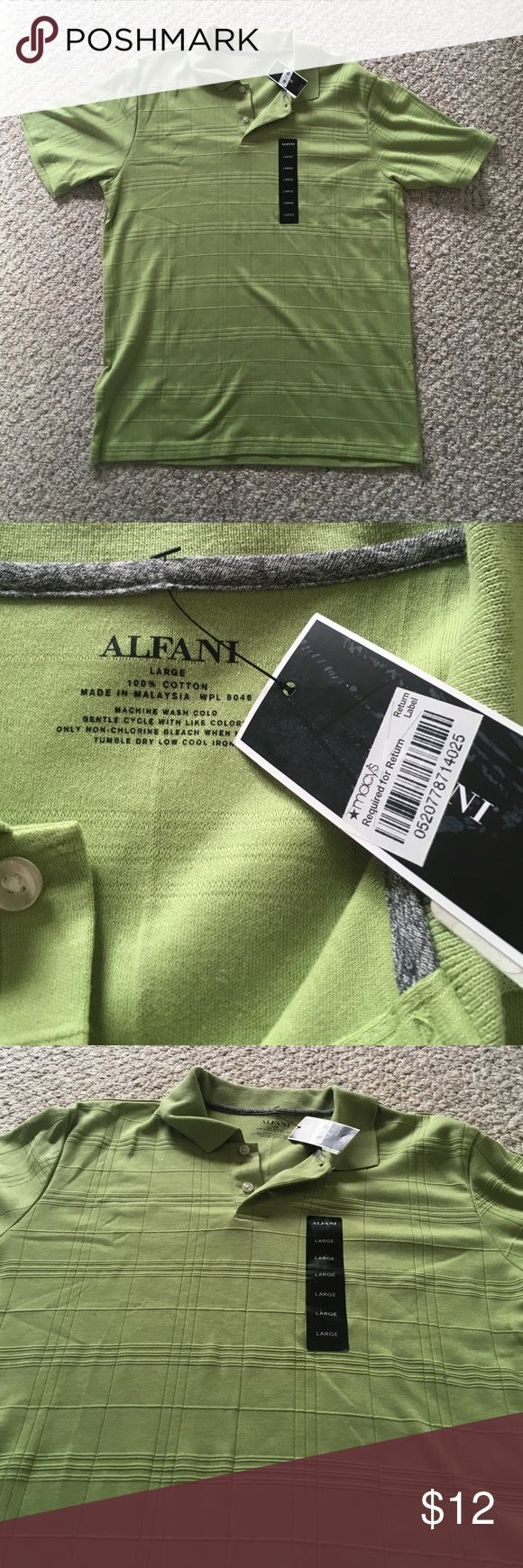 Green Alfani Polo Shirt Large This is beautiful green polo shirt with cream buttons, perfect for any occasion! Bundle to save! Alfani Shirts Polos