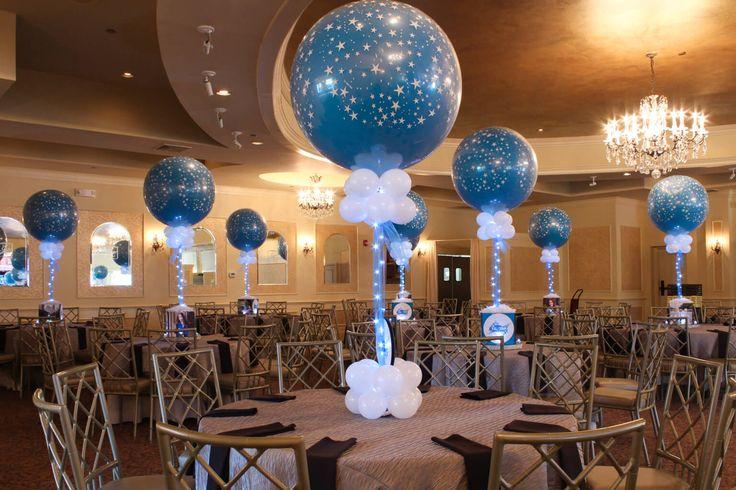 Star Themed Bat Mitzvah Centerpieces Star Themed Bat Mitzvah Centerpieces with Photo Cubes & LED Balloons