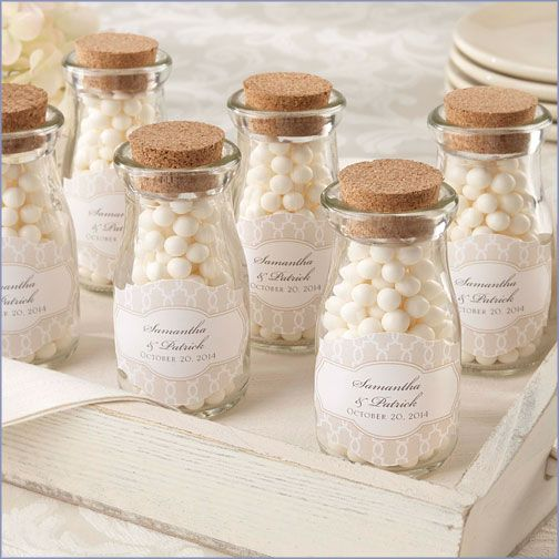 Old-fashioned mini milk bottle favors. These are adorable. Check out other great deals at americanbridal.com