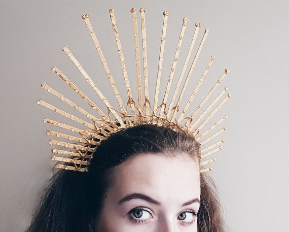 Gold Spike Crown Gold Wreath Unique head piece Gold painted spike hair piece…