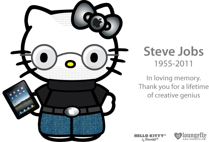 #SteveJobs loungely hello kitty  RIP stevie #iSad