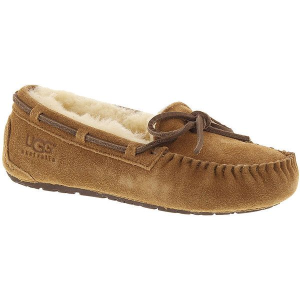 UGG? Dakota (Kids Toddler-Youth) ($80) ❤ liked on Polyvore featuring shoes, chestnut, moccasin shoes, real leather shoes, mocassin shoes, leather moccasin shoes and moccasin style shoes
