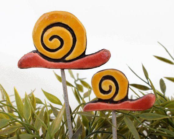 Snail garden art  plant stake  garden decor  snail by GVEGA