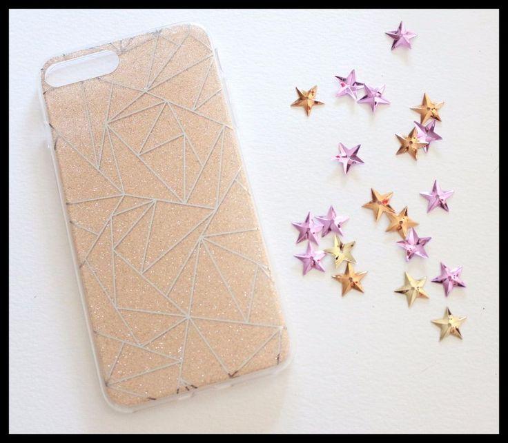 Coque rigide or dore strass paillette triangle iPhone 7 + 7 Plus glitter rgirly