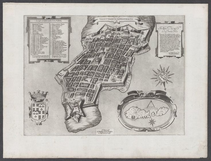 """Sept. 14. #MaltaMapMonday Birds-eye view of fortified Valletta, with key. Note the Cross of St. John on the compass rose on the inset map of the Maltese archipelago. A second compass rose has a map of the Italian peninsula. Matthaus Merrian's engraving found in Martin Zeiller's """"Topographia IItaliae,"""" (1640-1730). Courtesy of Stanford University."""