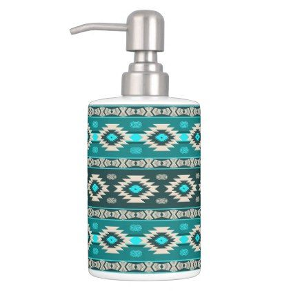 Southwestern navajo ethnic tribal pattern. soap dispenser and toothbrush holder - traditional gift idea diy unique