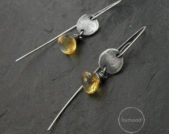 100% Ag earrings raw sterling silver earrings by studioformood