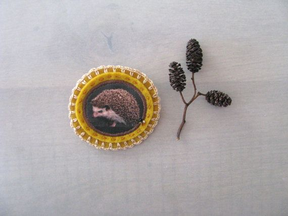 mustard and brown brooch with hedgehog - felt brooch - natural history -  woodlands - free shipping - mothersday gift