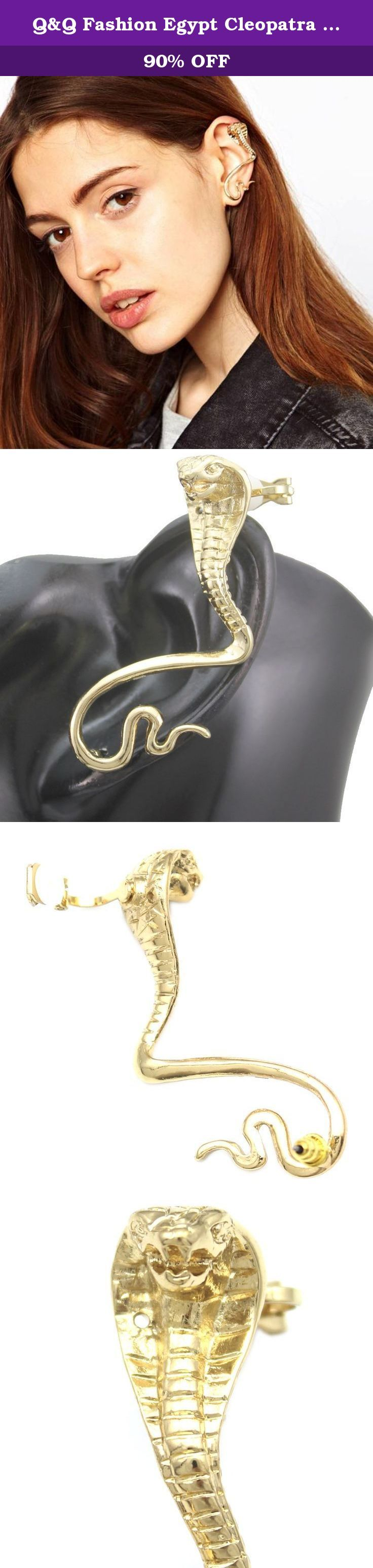 Q&Q Fashion Egypt Cleopatra Gold 3D Snake Cobra Ear Cuff Stud Earring Goth Punk Fancy Dress. Q&Q Fashion Egypt Cleopatra Gold 3D Snake Cobra Ear Cuff Stud Earring Goth Punk Fancy Dress Art Nouveau style ,Art Deco style ,Fancy Dress style and so on it`s for occasions like Party,Fashion Show,Photo,Prom.and so on .