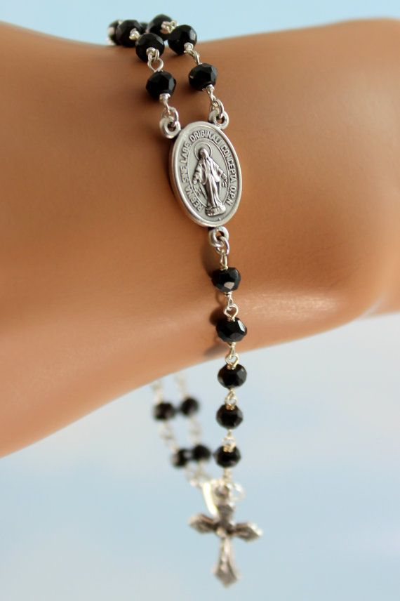 Men's or Women's Rosary Bracelet Black by divinitycollection, $35.00