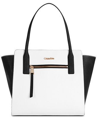 Calvin Klein Saffiano Leather Colorblock Tote - Handbags & Accessories - Macy's